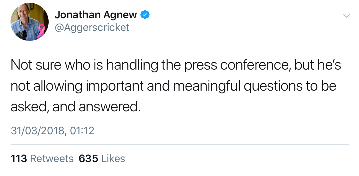 Jonathan Agnew tweet on press conference