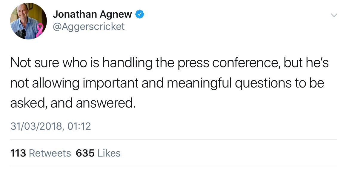 Jonathan Agnew tweet on press conference