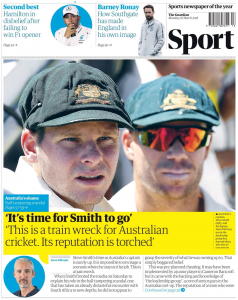 Guardian sport front page