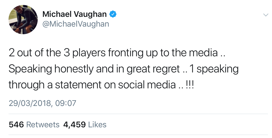 Michael Vaughan tweet against David Warner