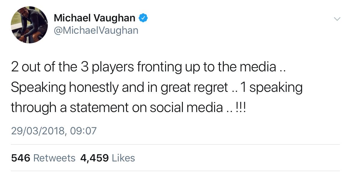 Michael Vaughan tweet against David Warner